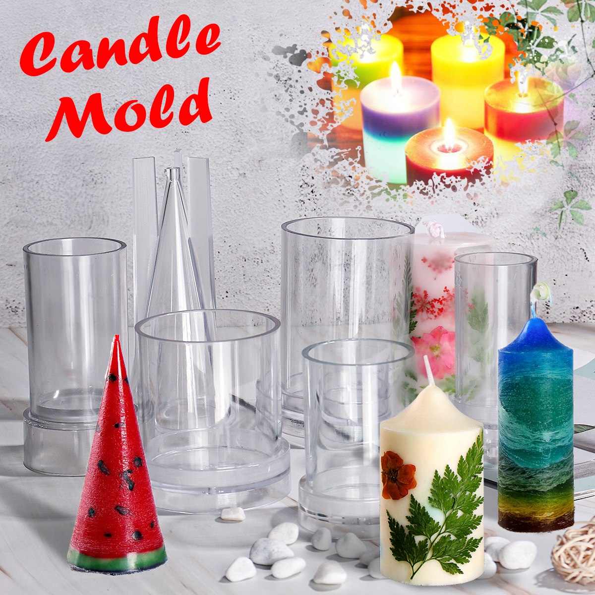 US DIY Candle Molds Candle Making Mould Handmade Soap Molds Clay Craft Tools