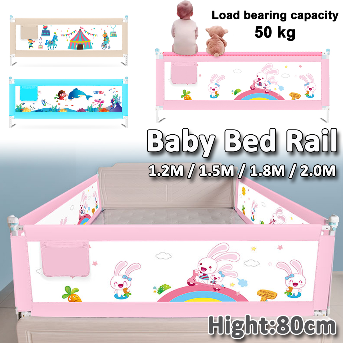 100cm wide White Safety Bed rail//BedRail Cot Guard Protection Child toddler Kids
