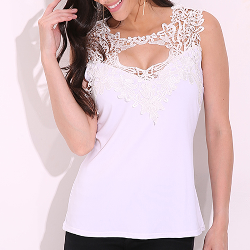 AU-STOCK-Womens-V-Neck-Sleeveless-Lace-Vest-Casual-Slim-Fit-Tank-Tops-Cami-Shirt