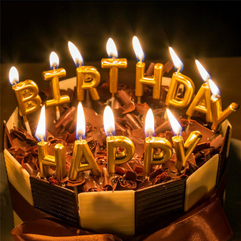 Details about Happy Birthday Candle Party Cake Toppers Decoration Candles  Gold Decoration