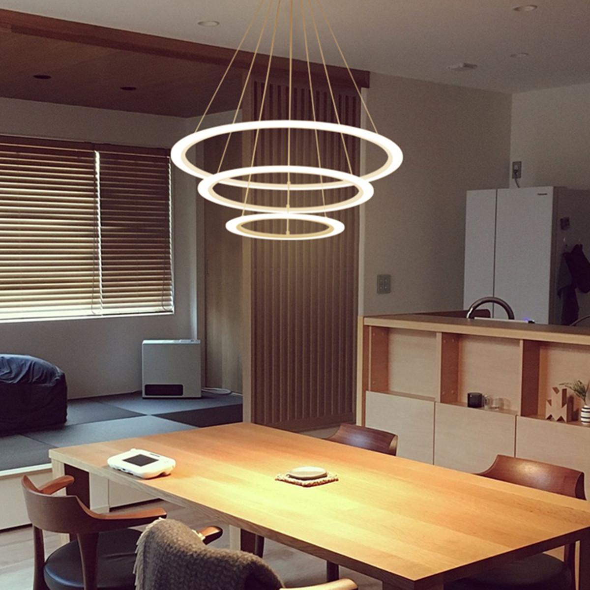 Acrylic Led Ring Chandelier Pendant Lamp Ceiling Light: Modern 3 Ring Pendant Light Acrylic Aluminum LED
