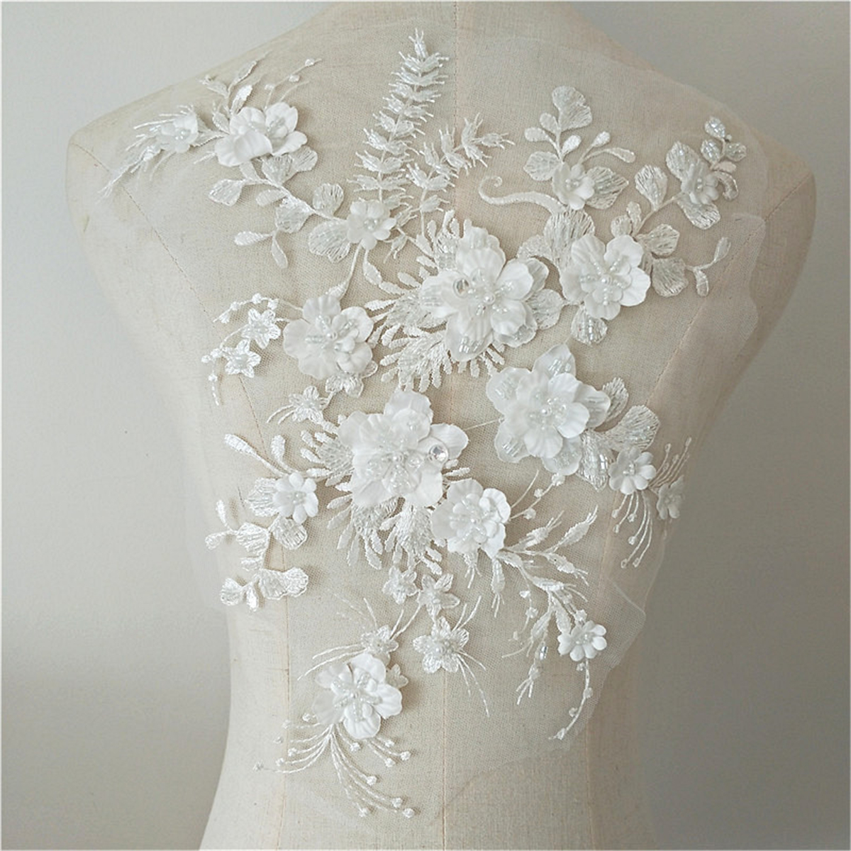 Wedding Dress Fabric Flowers Pearl Beads Lace