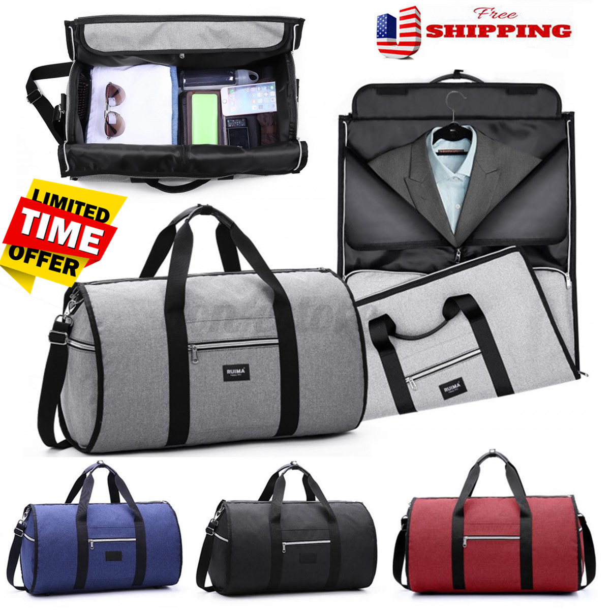 2 in 1 Business Travel Garment Sports Bag Carry On Suit Outd