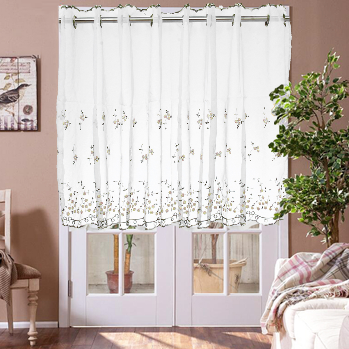 Remarkable Details About Kitchen Cafe Curtain Country Embroidery Window Sheer Voile Short Panel Valance Home Interior And Landscaping Palasignezvosmurscom