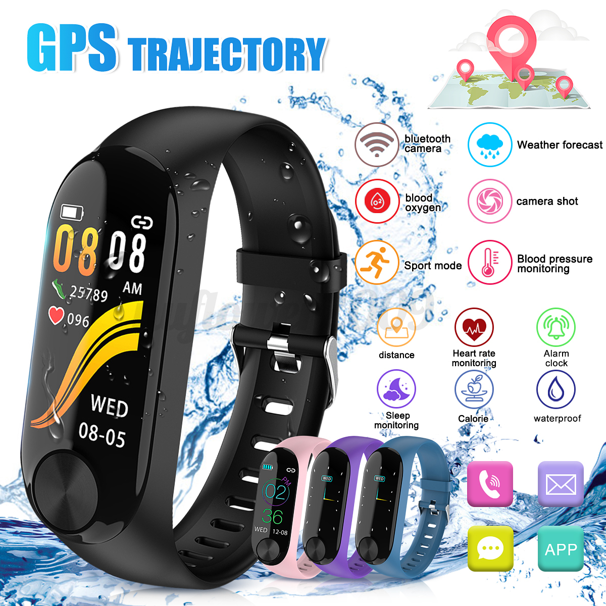 Smart-Band-Watch-Bracelet-Wristband-Fitness-Tracker-Blood-Pressure-Heart-Rate miniature 15