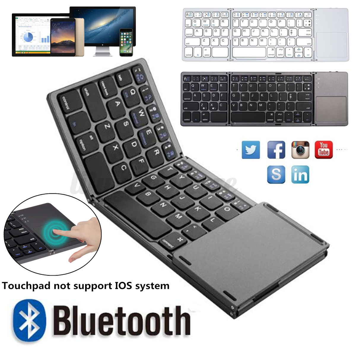 Tri Folding bluetooth Wireless Keyboard with Touchpad For Ph