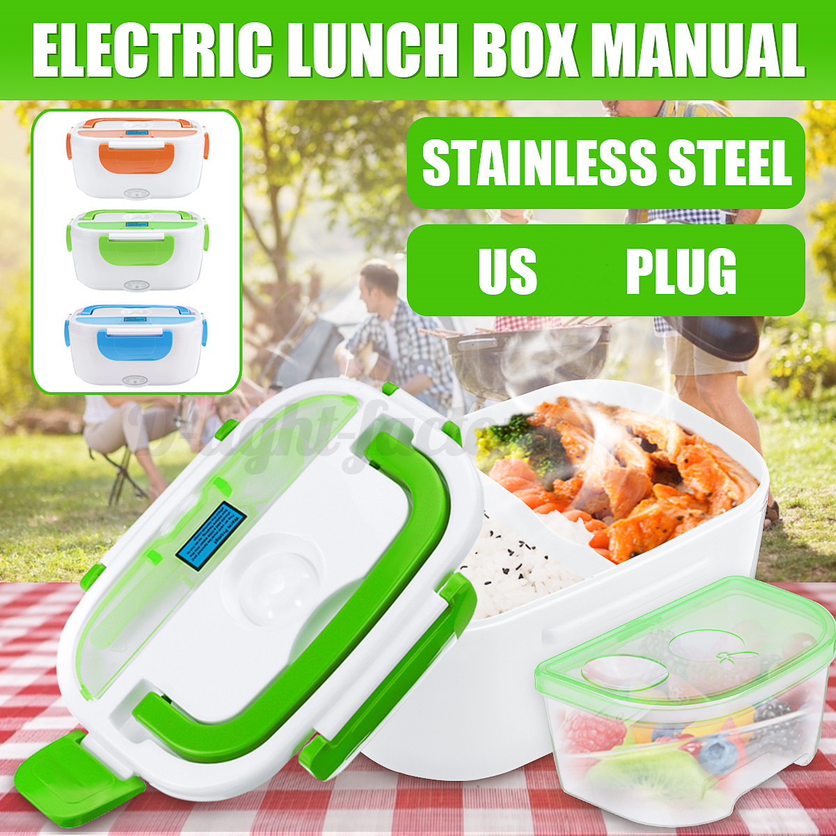 110V 50W Portable Electric Heated Heating Lunch Box Bento Tr