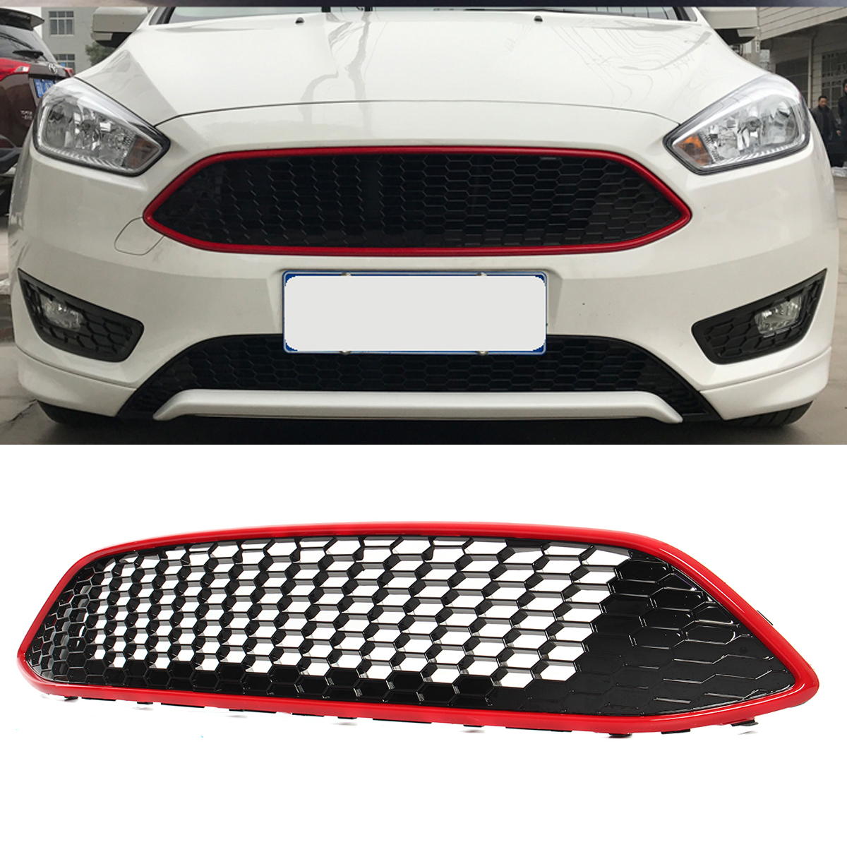 Black/Red Honeycomb Mesh Front Bumper Center Grille Panel