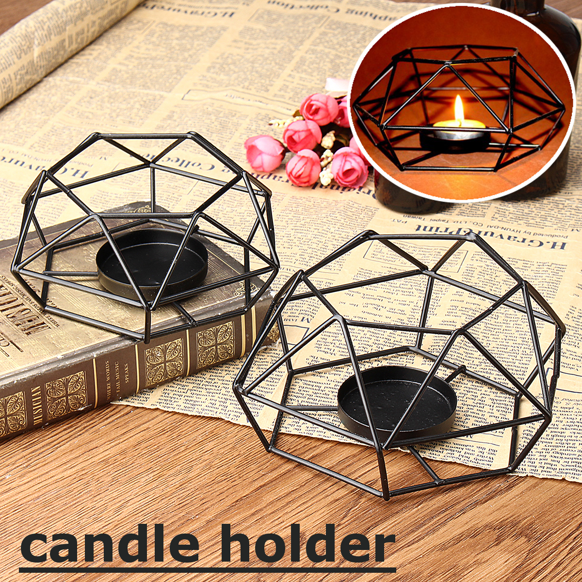 Home Decor 2pcs Geometric Wall Candle Holder 3d Geometric Candlestick Iron Round Wall Sconces For Pillar Candles Tea Light Living Room Bedroom Wedding Decor Black Home Kitchen Iambrand Co Ke