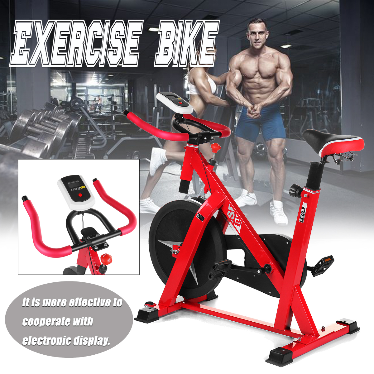 Red Exercise Bike Stationary Cycling Fitness Cardio Aerobic Equipment Gym