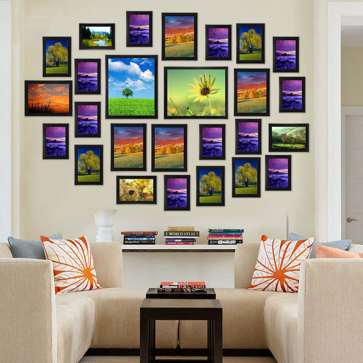 Multi photo frames set home room office decor picture