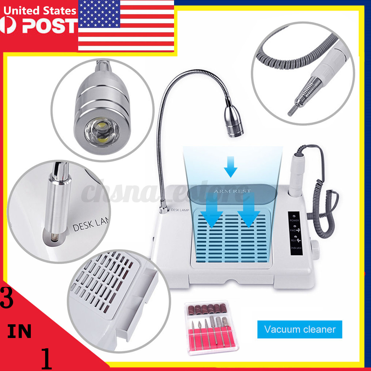 35000 RPM PRO Nail Drill Bits Dust Collector Desk Lamp 3-in-1 ...