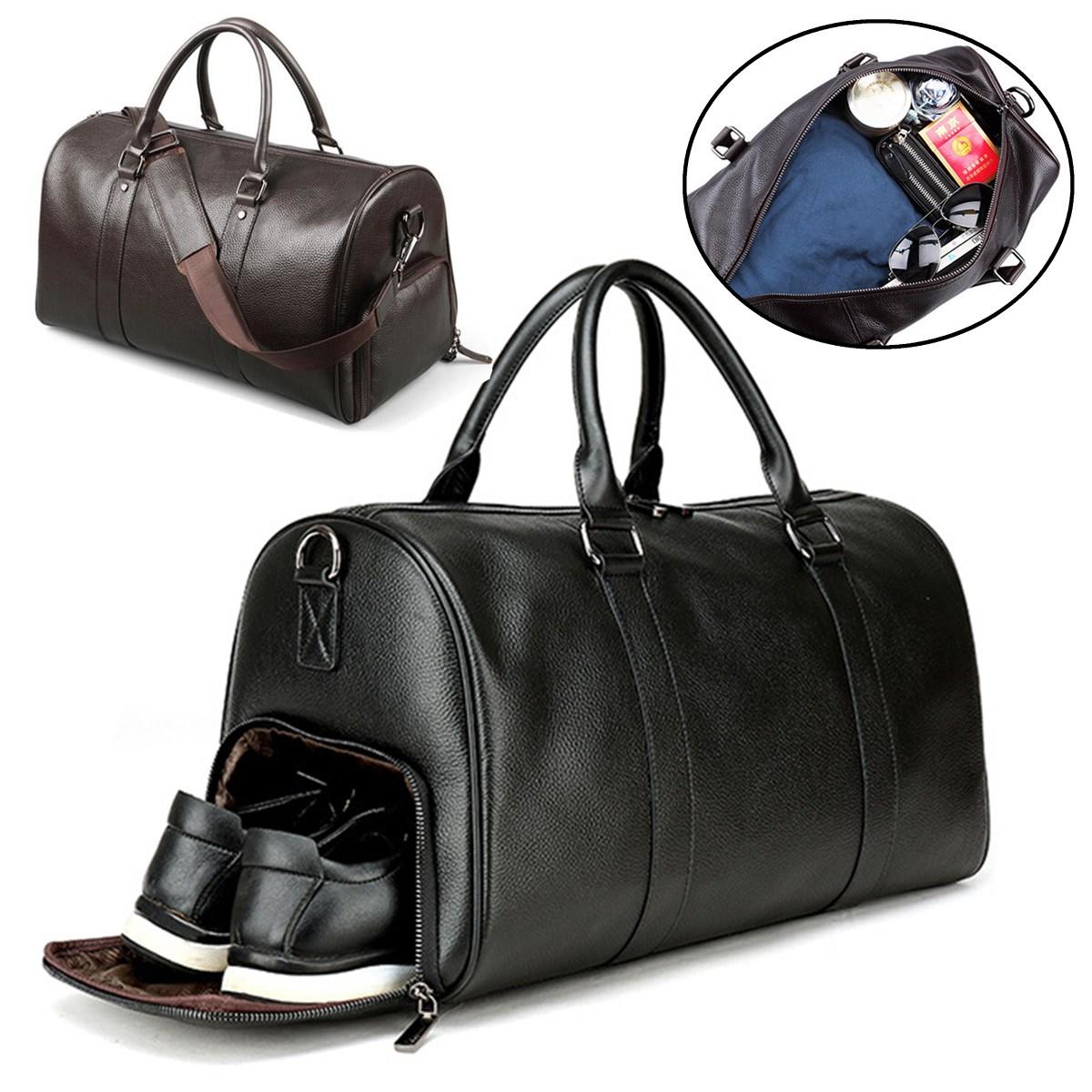 1e2ea7ec227c Details about Men Leather Gym Duffel Shoulder Bag Travel Overnight Luggage  Large Handbag Tote