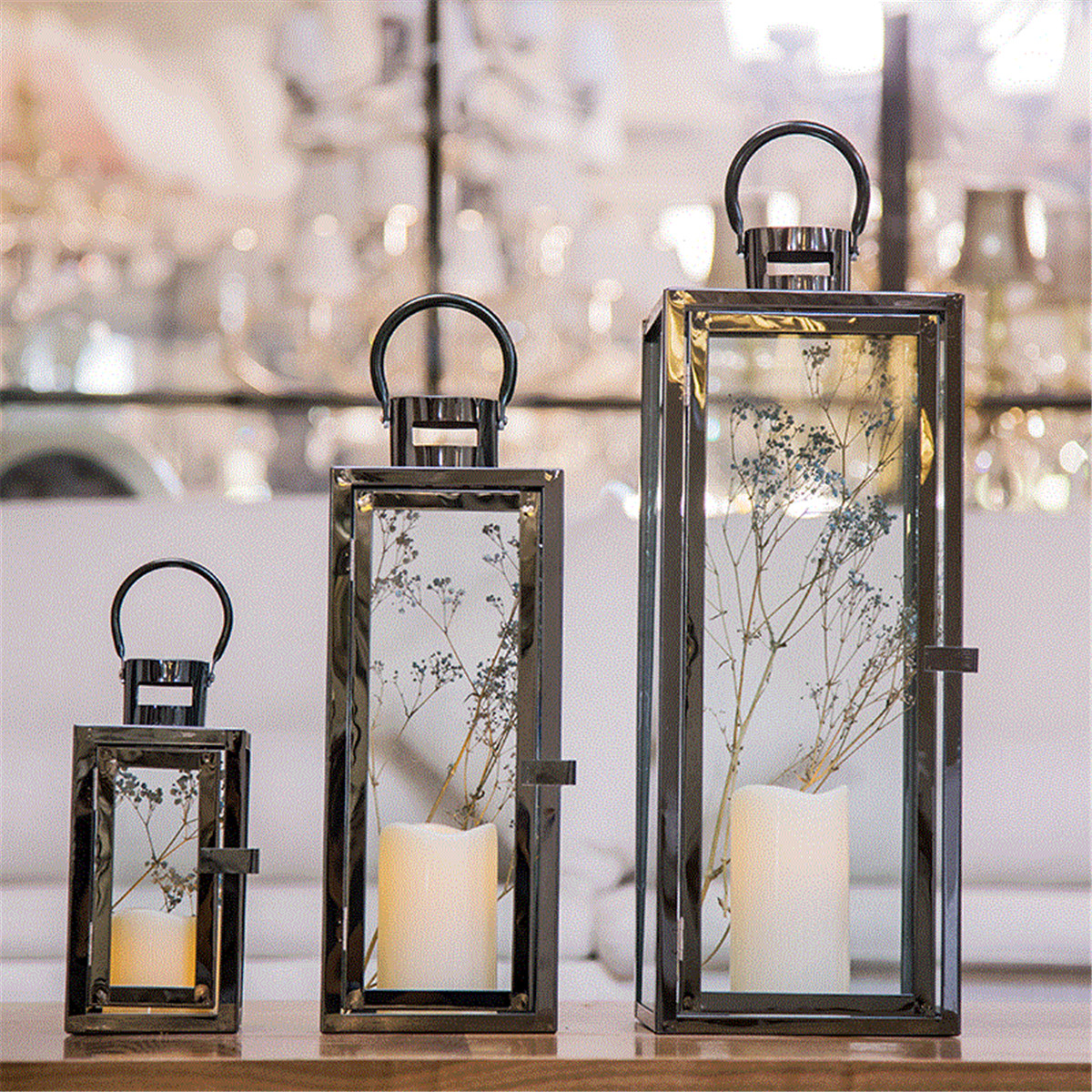 3pcs set glass lantern candle holder garden night wedding tea light home decor ebay. Black Bedroom Furniture Sets. Home Design Ideas
