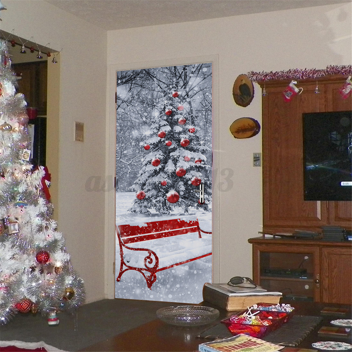 Christmas snow tree series 3d door fridge sticker wrap room wall christmas snow tree series 3d door fridge sticker amipublicfo Gallery