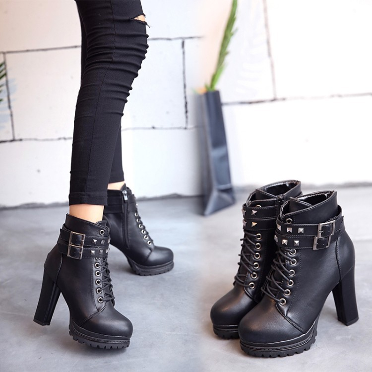 Details about Women Ankle Boots Combat High Block Heel Platform Gothic  Knight Preppy Shoes
