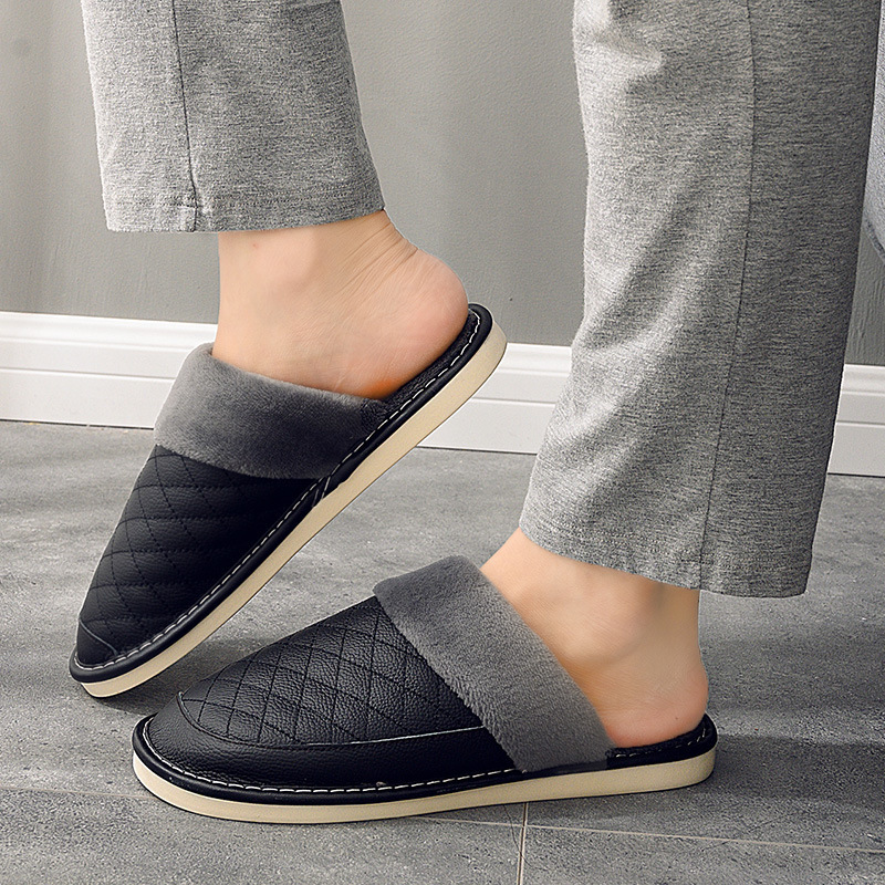 Men-Couple-Winter-Warm-Fuzzy-Cow-Leather-House-Slippers-Fleece-Lined-Home-Shoes thumbnail 16
