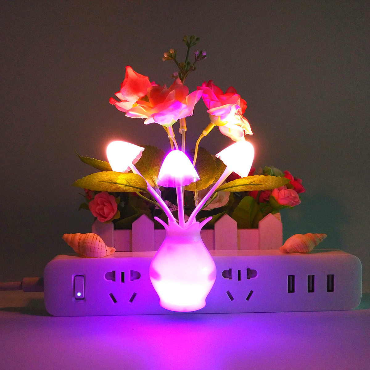 4 Pack Led Night Light Color Changing Lamp Mushroom Flower