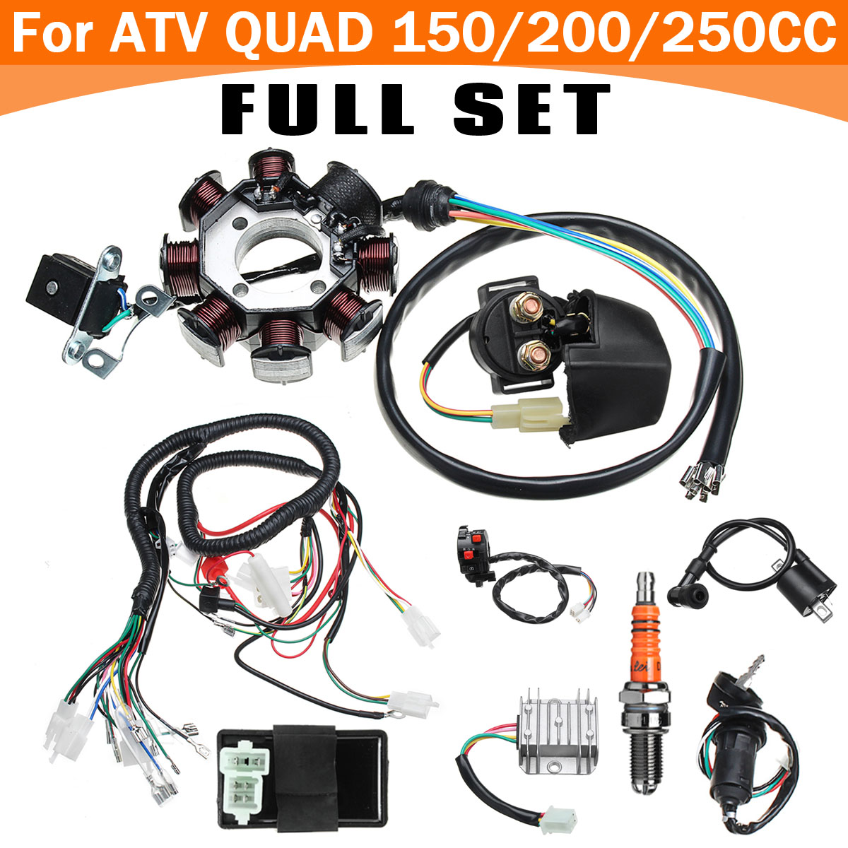 Full Electric Cdi Coil Wire Wiring Harness Stator Loom For Atv Quad China Made Detail Image