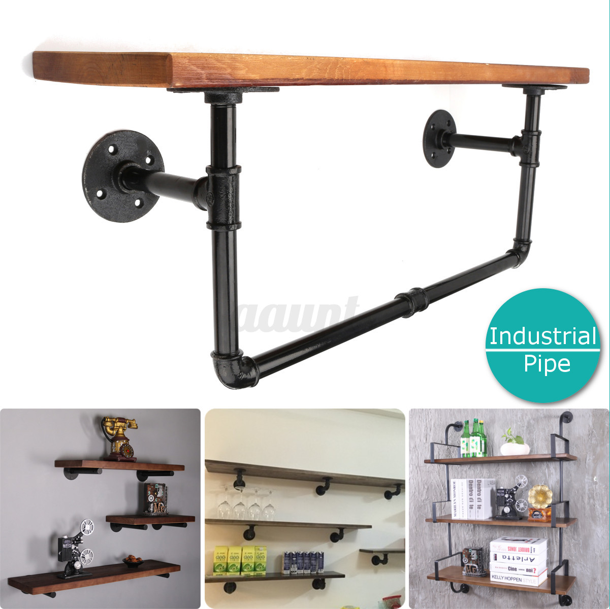 32types vintage retro black iron industrial pipe shelf. Black Bedroom Furniture Sets. Home Design Ideas