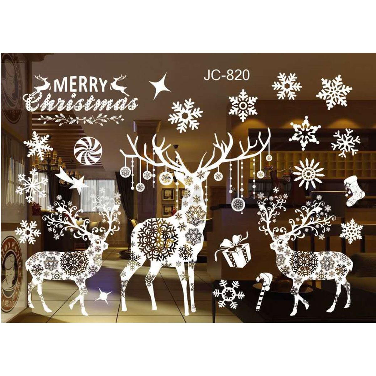 Diy home window glass christmas xmas sticker wall decals for Christmas window mural