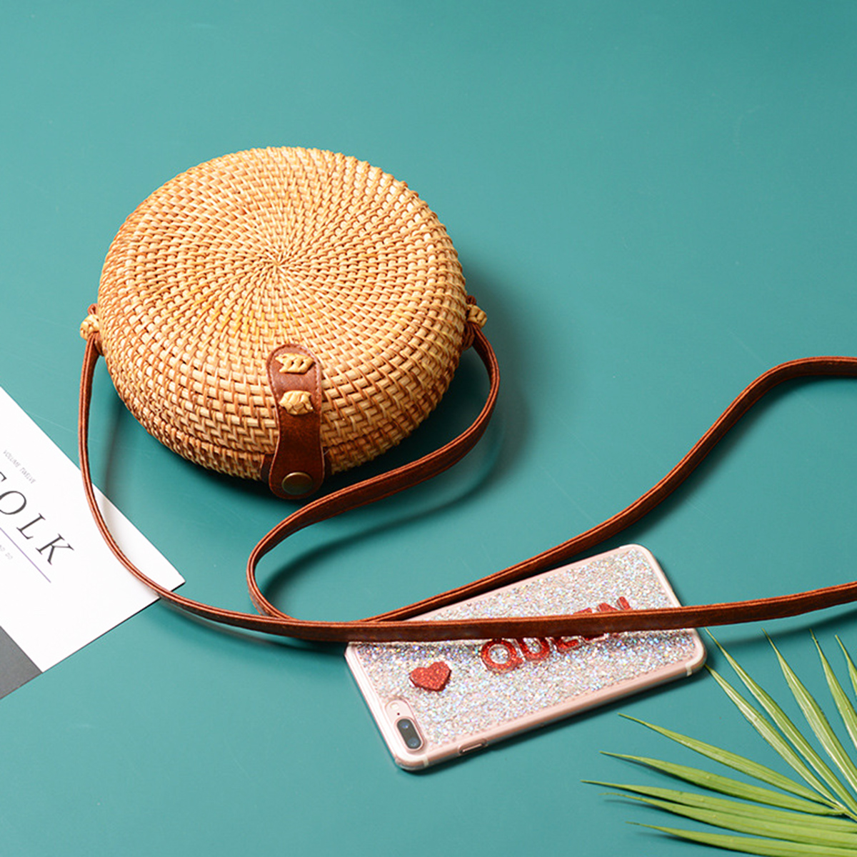 Women-039-s-Beach-Bag-Rattan-Straw-Handwoven-Round-Messenger-Crossbody-Handbag-Tote