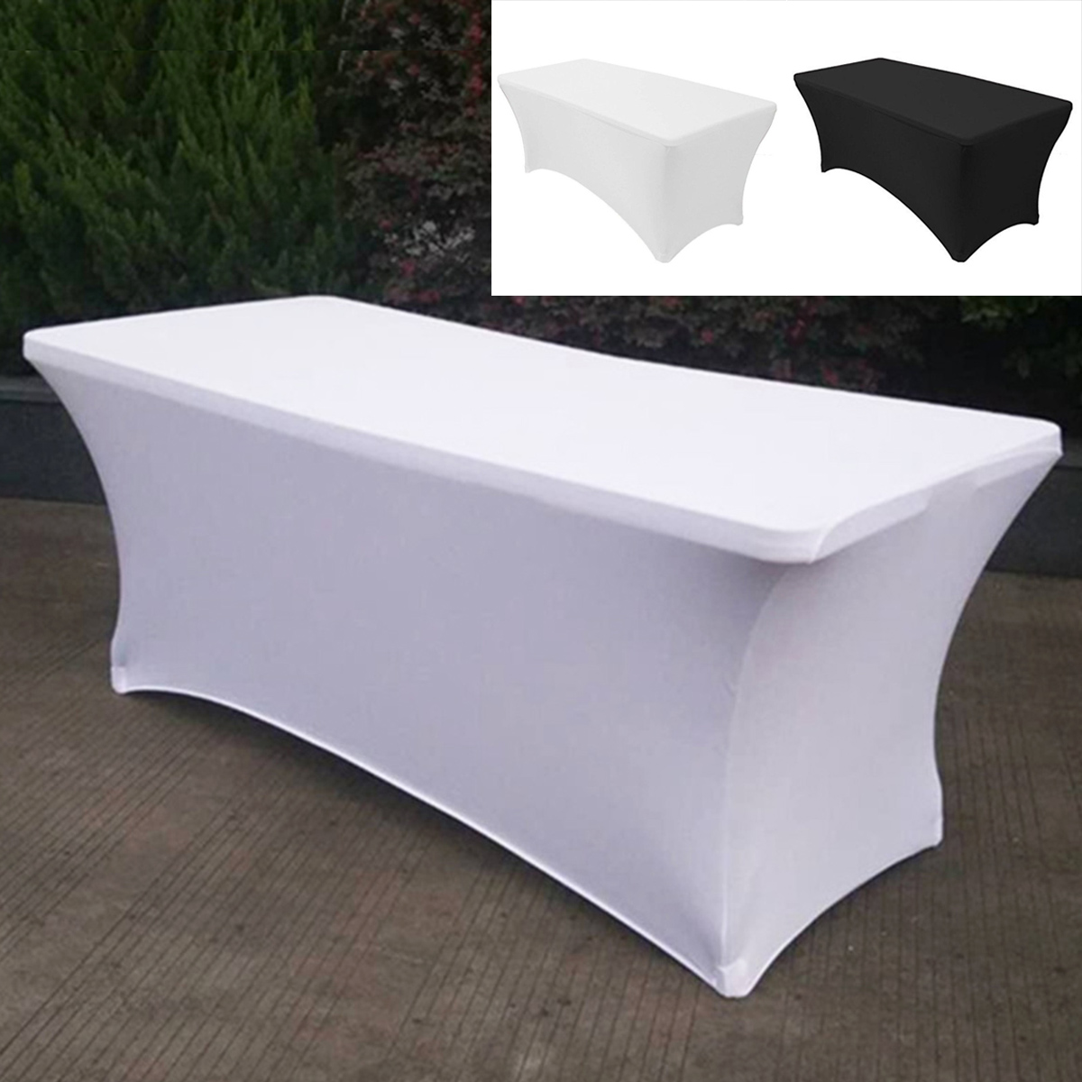 Details About 6ft Stretch Spandex Table Covers Fitted Rectangular Tablecloths Black White