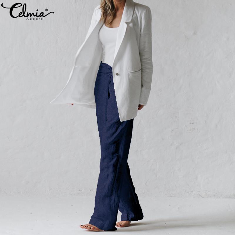 Plus Size Womens High Waist Plain Palazzo Wide Leg Flared Trousers OL Pants