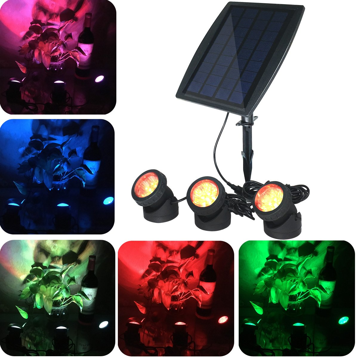 Solarstrahler LED 3 Lampe Wegleuchte Garten Beleuchtung Landschaft     3