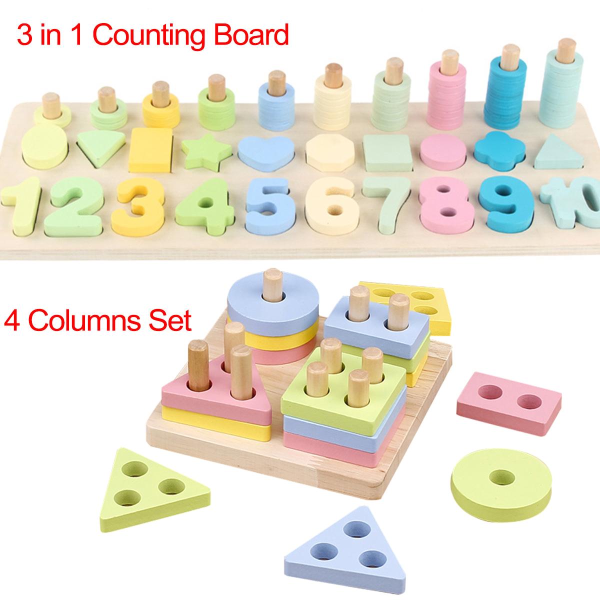 Montessori Board Educational Toy Preschool Wooden Count Geometric Shape Math