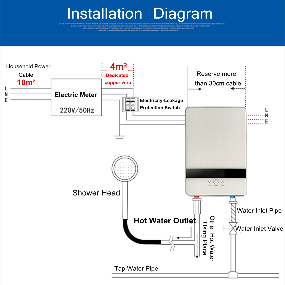 6500w Electric Tankless Instant Water Heater Constant Temperature How To Wire An Shower Detail Image