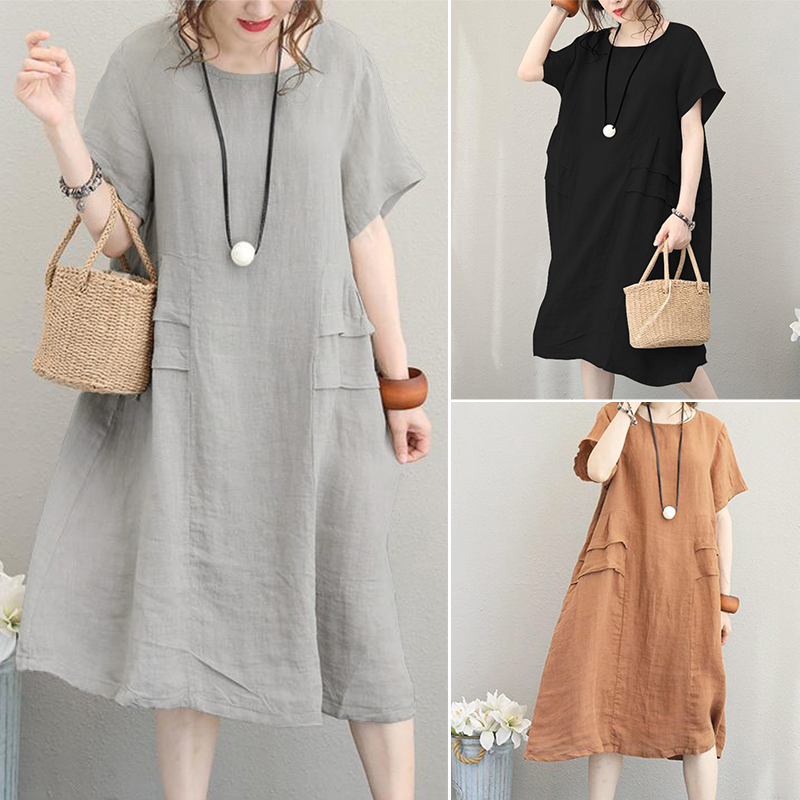 e9a2a7e9f87d Details about Retro Women s Round Neck Summer T-Shirt Dress Batwing Midi  Dress Plus Size Tops