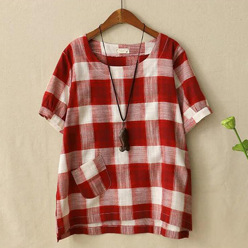 AU-8-26-Womens-Loose-Blouse-Short-Sleeve-Plaid-Casual-T-Shirt-Ladieds-Summer-Top