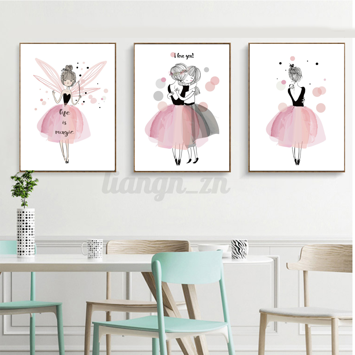 kawaii fille cute style peinture toile poster murale enfant chambre d cor dessin ebay. Black Bedroom Furniture Sets. Home Design Ideas