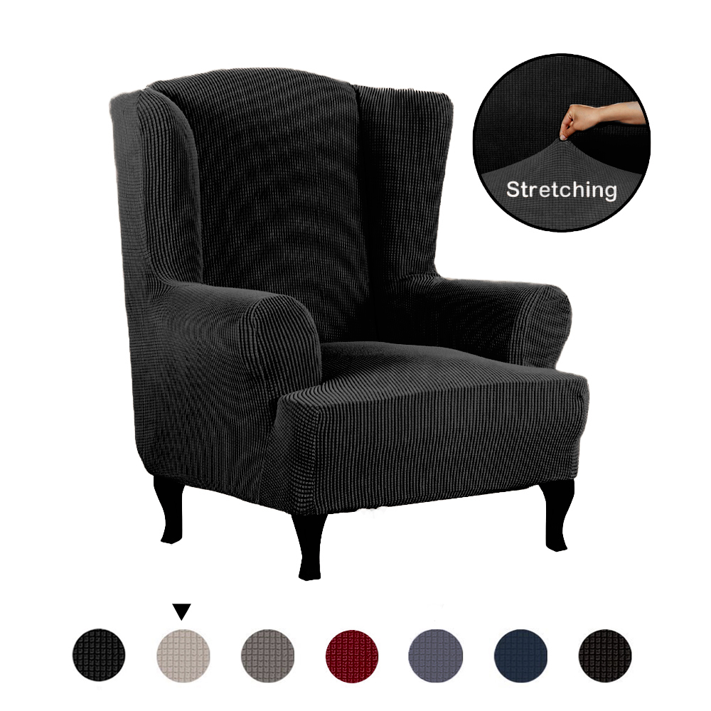 All-inclusive-Stretch-Wing-Chair-Cover-Slipcover-Wing-Back-Chair-Armchair-Cover miniature 15