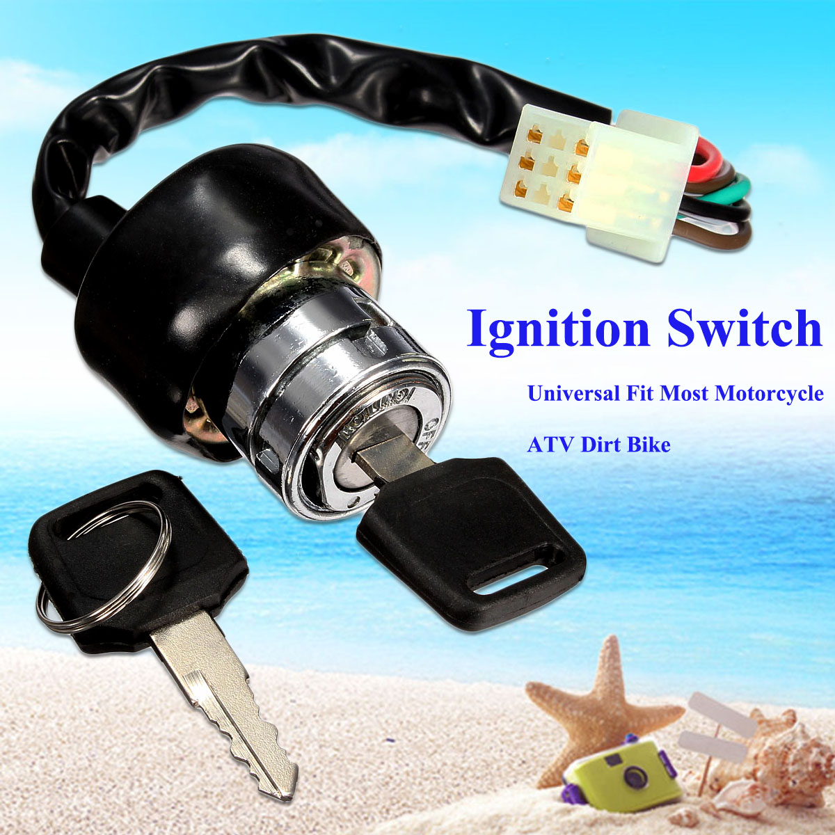 Universal Motorcycle ATV Truck Car Vehicles 6 Wire Ignition Switch + ...