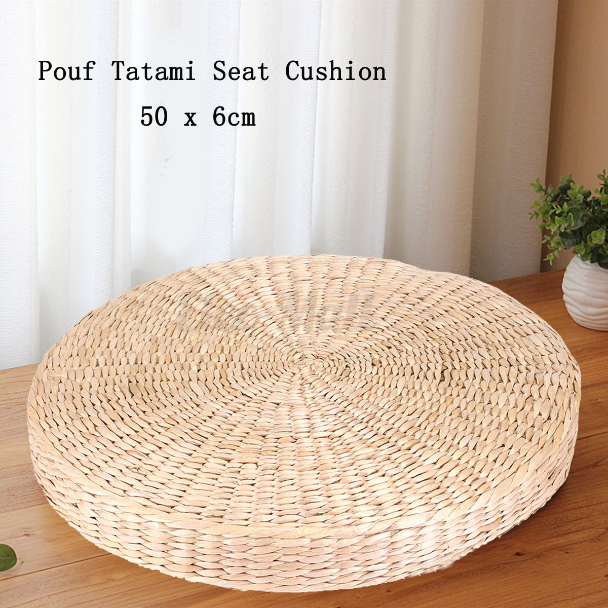 50cm Round Pouf Tatami Cushion Floor Cushions Natural Straw Meditation Yoga Mat eBay