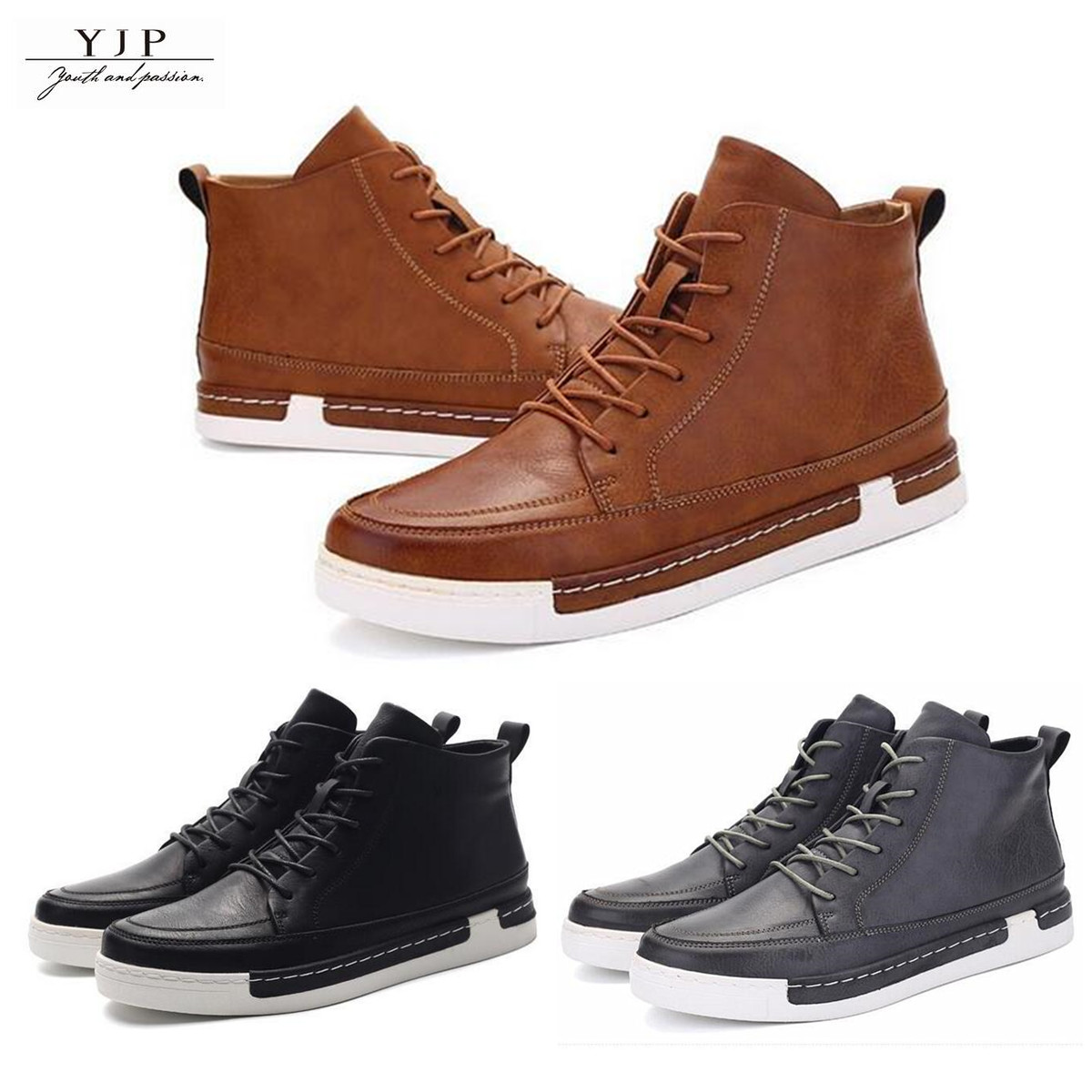 YJP Men's Winter Casual High top Sneakers Ankle Boots Waterproof  Leather shoes
