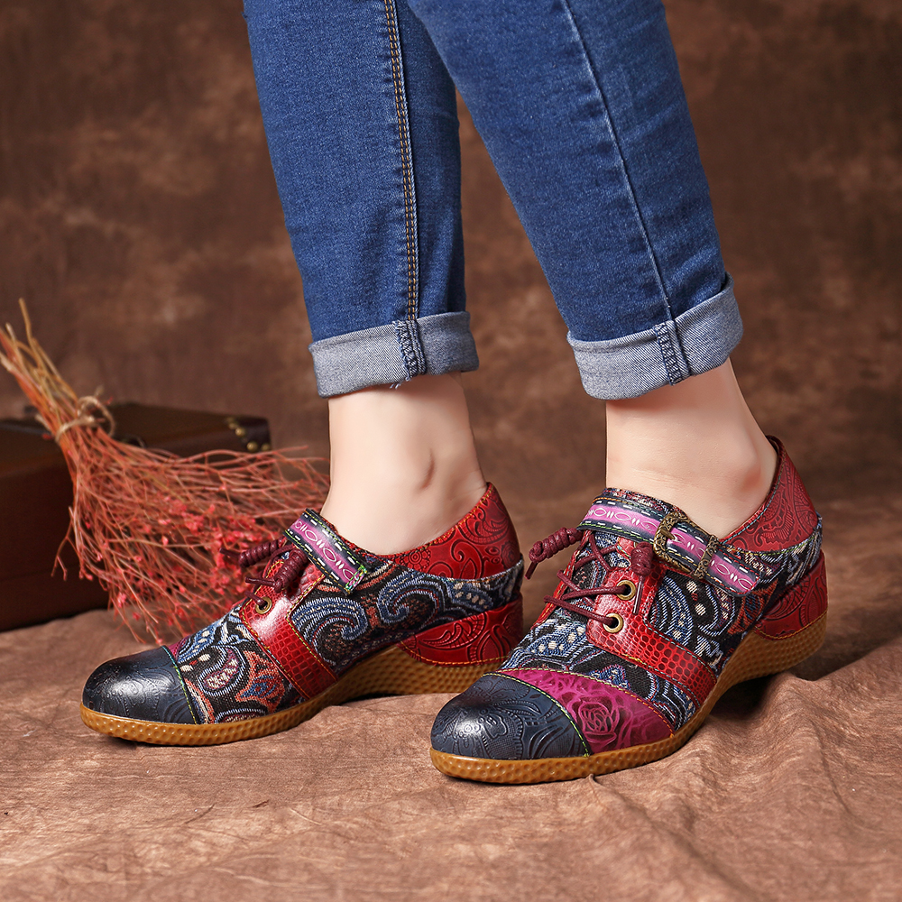 SOCOFY Women Vintage Oxfords Flats Bohemian Casual Jacquard Wedge shoes Boots