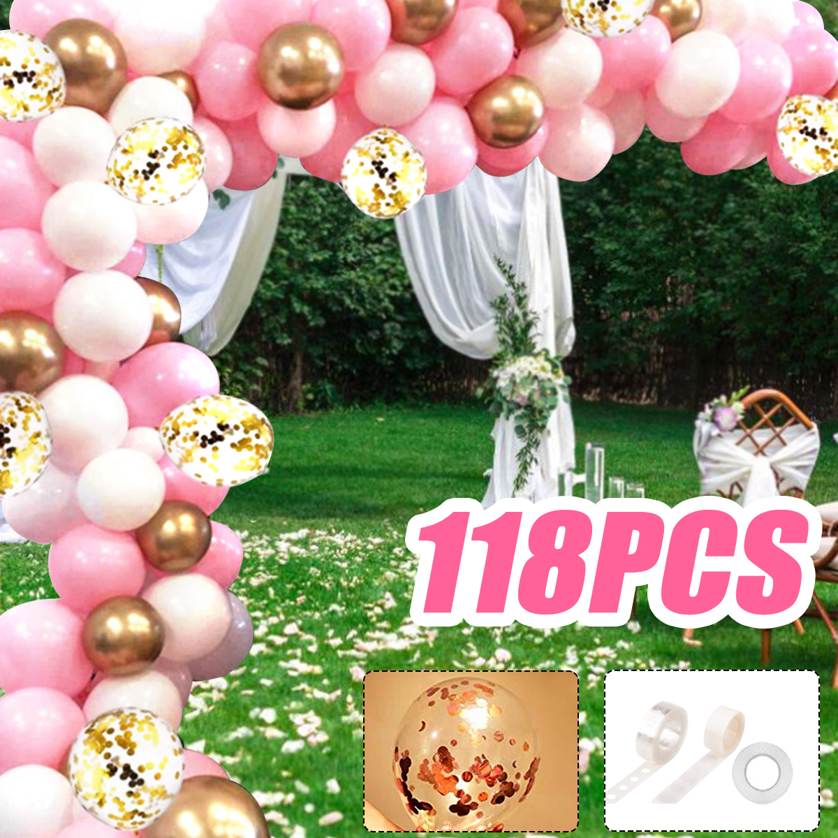 118pcs Pink Balloon Garland Arch Baby Shower Birthday Party Decoration Wedding Ebay