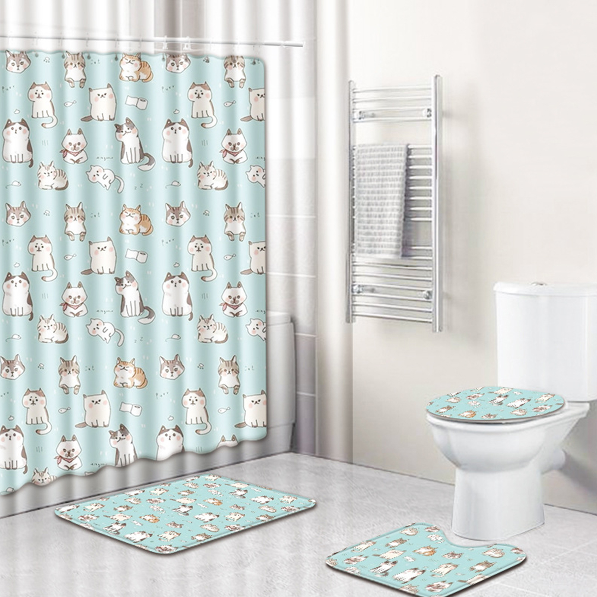 4Pcs//Set Bathroom Polyester Shower Curtain Non Slip Toilet Cover Rugs Bath Mat