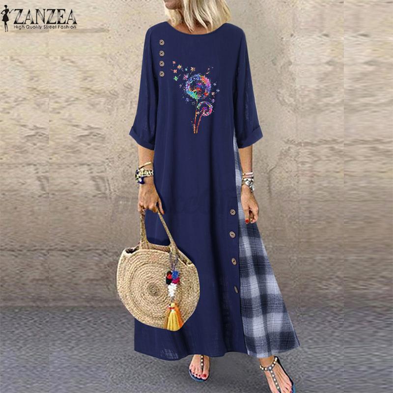Oversize-Femme-Robe-Manche-Longue-Col-Rond-Couture-Verifier-Loisir-Ample-Dresse miniature 4