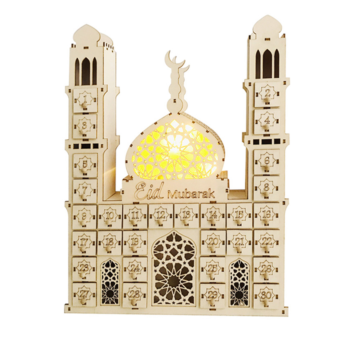 Islam Ramadan Countdown to EID Mubarak Advent Wooden Hanging Plaque Message Board Home DIY Crafts Party Supplies KUKALE Ornament
