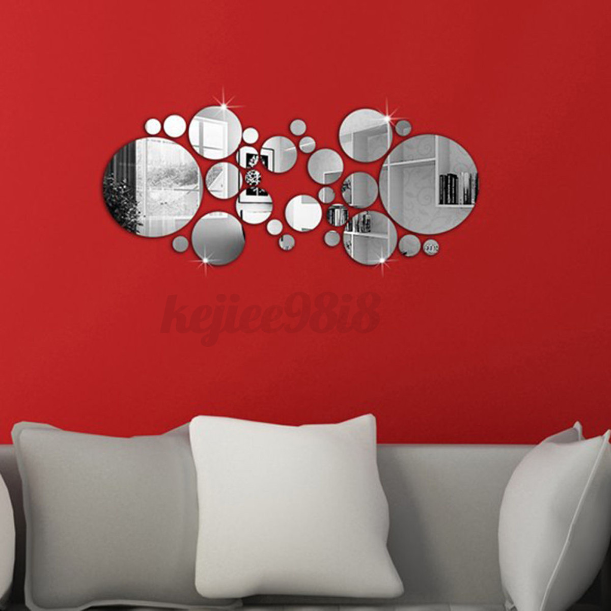 Modern mirror slice show acrylic wall sticker 3d art home for Collant mural hibou