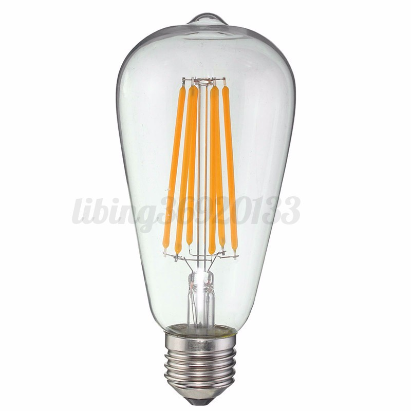 e27 dimmable st64 8 10w industrial vintage edison cob led filament bulb 110 220v ebay. Black Bedroom Furniture Sets. Home Design Ideas