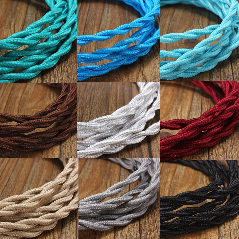 1-10M Twisted Braided Lighting 0.75mm 2 Core Fabric Cable Flex ...