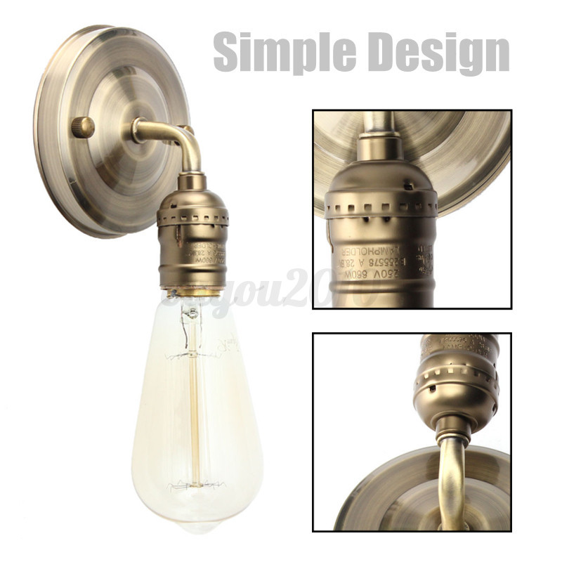 E27 Modern Vintage Wall Light Sconce Lamp Bulb Socket Holder Fixture w/ Switch eBay
