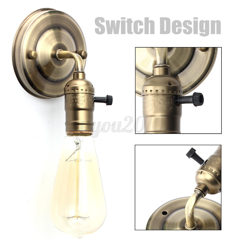 Wall Light Fixture With Switch: E27 Antique Vintage Wall Light Sconce Lamp Bulb Socket