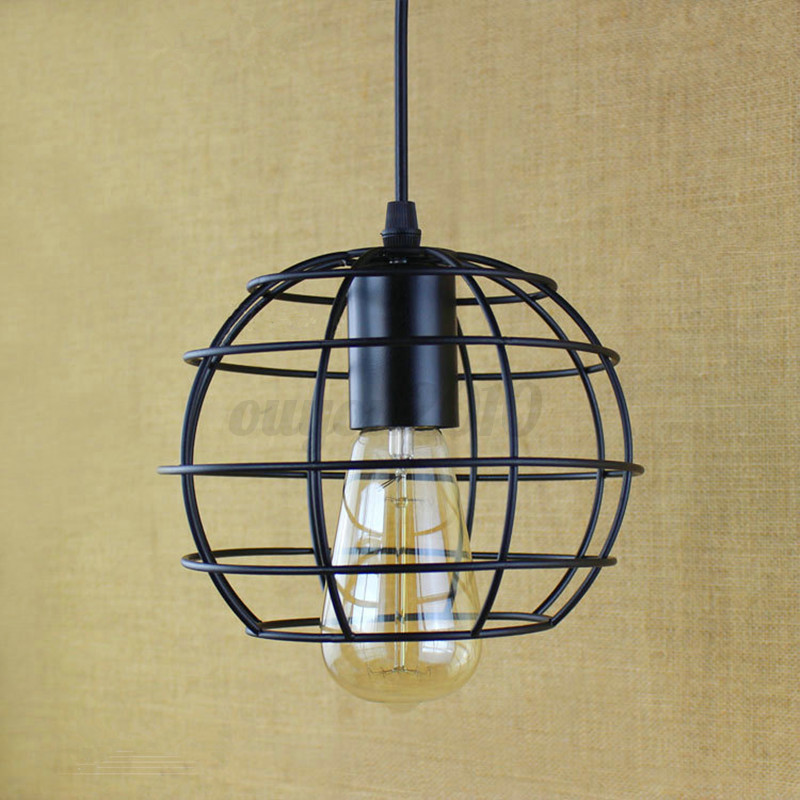 Ceiling Light Bulb Guard : Vintage pendant trouble light guard wire cage ceiling