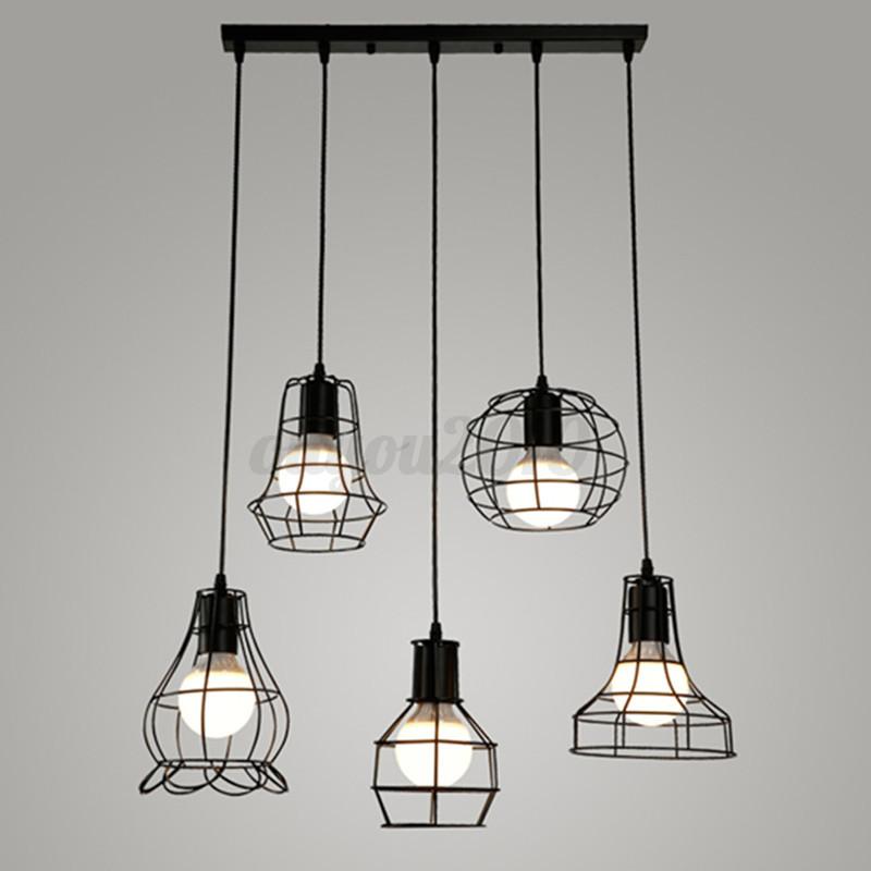 Ceiling Light Bulb Guard : Vintage pendant trouble light guard wire cage ceiling